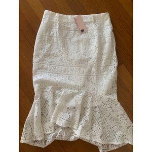 Showpo midi white skirt